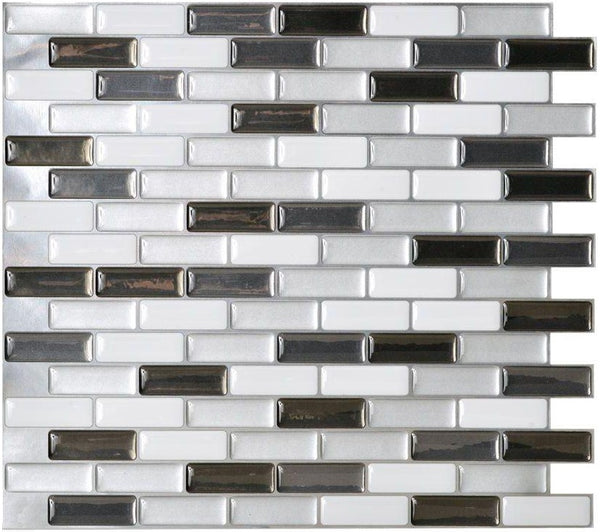 Smart Tiles SM1030-6 Murano Adhesive Decorative Wall Tile, Metallik
