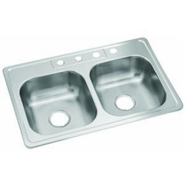 Sterling Plumbing 14633-4-NA Middleton Double Basin Kitchen Sink, 23 Guage