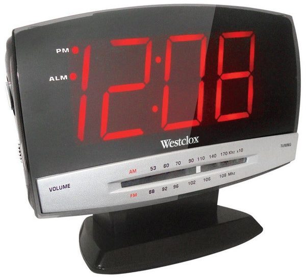 Westclox 80187A LED Radio Alarm Clock with Line-in, Red Display