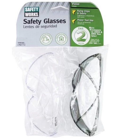 Safety Works 10091341-21 Safety Glasses, Clear/Gray, 2/Pack
