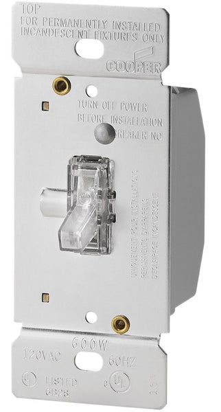 Cooper Wiring TI306L-K Lighted Toggle Dimmer, 3 Way, Clear