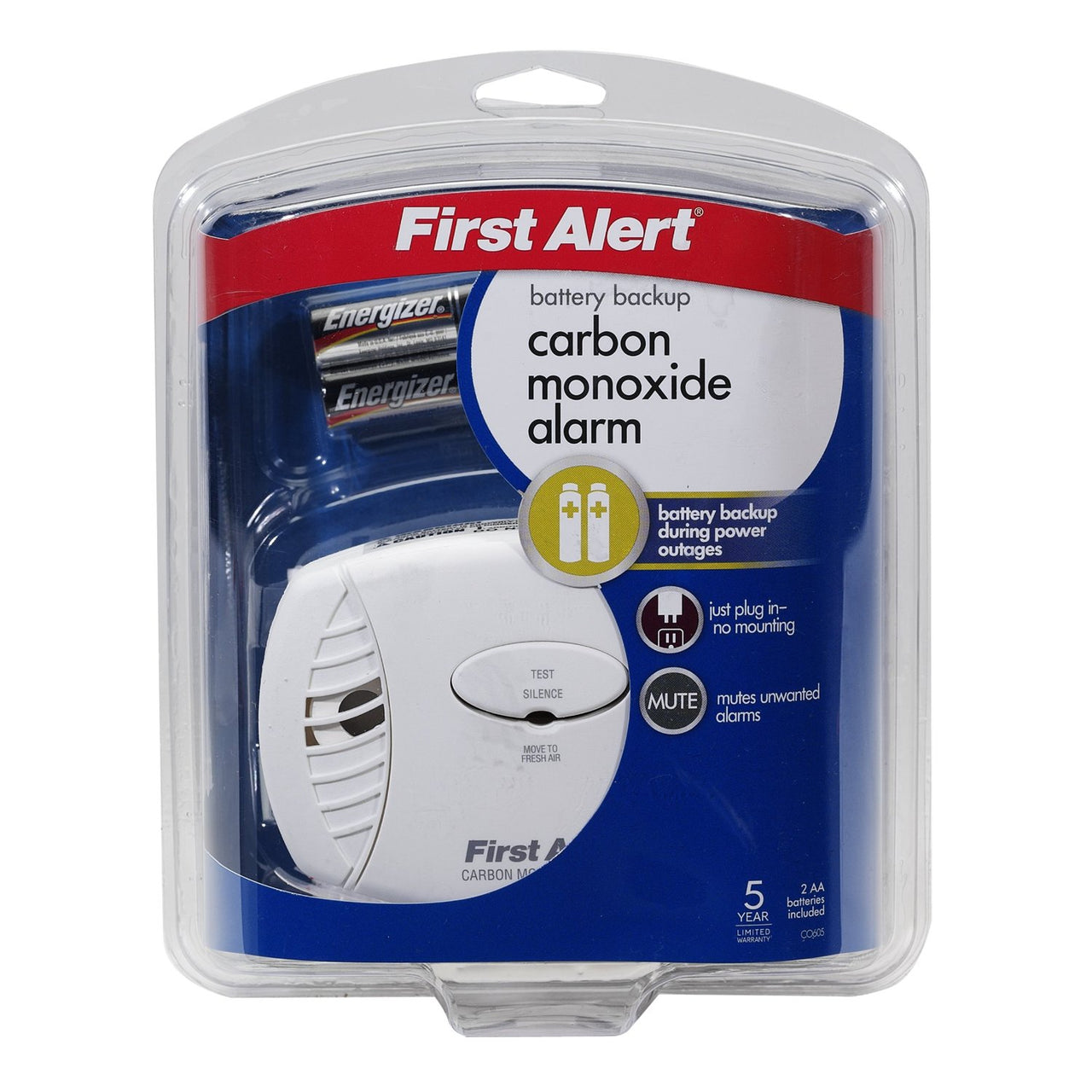 First Alert CO605 Carbon Monoxide Plug In Alarm, 85 db