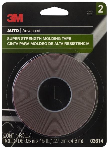 "3M 03614 Super Strength Molding Tape, 1/2"" W x 15' L"