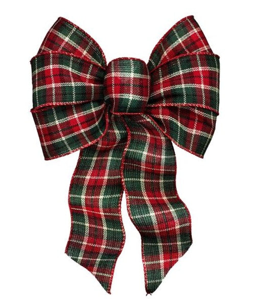 Holiday Trims 6126 Cheer Plaid Christmas Bow, Fabric, 7 Loops