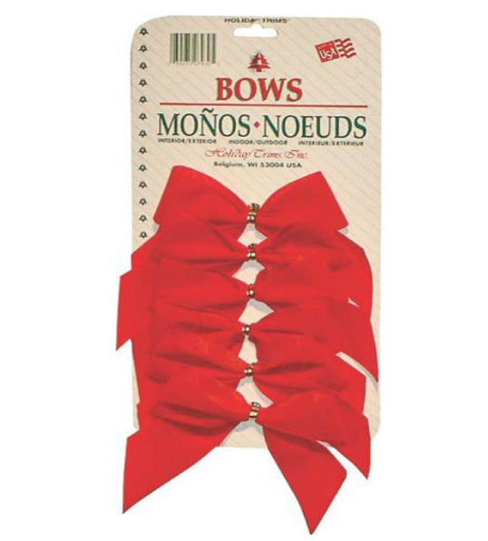 Holiday Trims 7930 Red Velvet Christmas Bows, 2 Loop