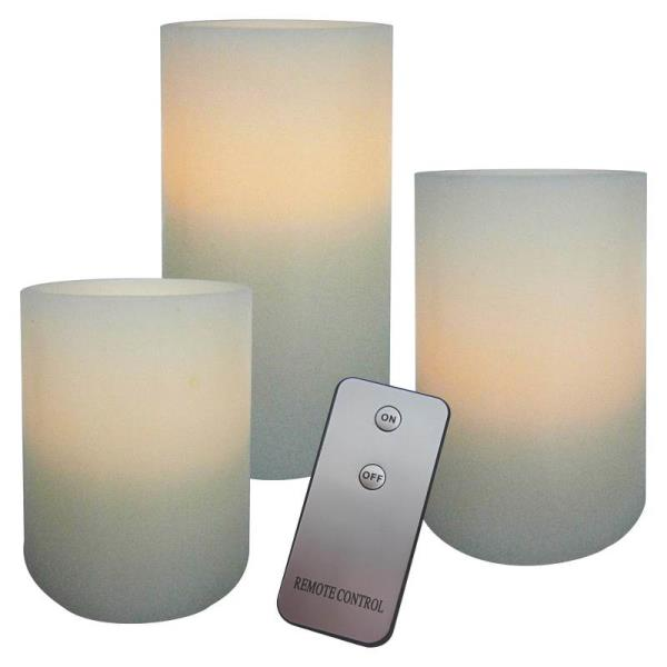 "Holiday Basix E03390 Flameless Real Wax LED Piller Candle, 6"", Set of 3"