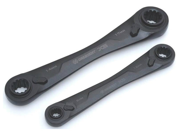 Crescent CX6DBM2 X6 4-in-1 Double Box Ratcheting Wrench Set, Metric Black