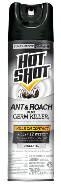 Hot Shot HG-96300 Ant & Roach Plus Germ Killer, Unscented, 17.5 Oz