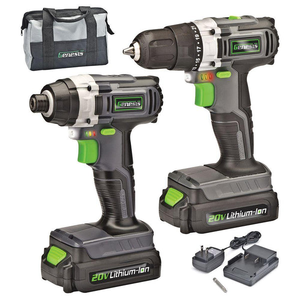 Genesis GL20DIDKA2 Lithium-Ion Drill/Impact Driver Combo Kit, Cordless, 20 Volt