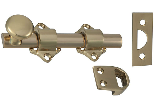 National Hardware N198-028 Dutch Door Bolt, Solid Brass, 4.34""