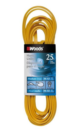 Coleman Cable 0831 Indoor Flat Vinyl Extension Cord, 16/3x25'