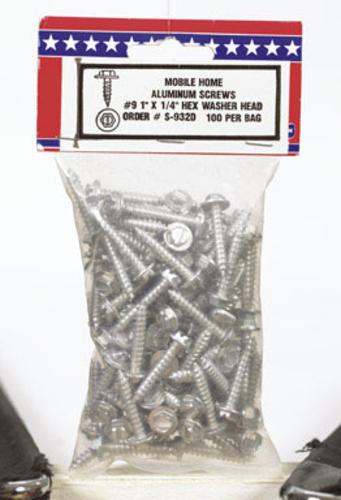 "Us Hardware S-932D Aluminum Screws 9-1""X1/4"" - Pkg/100"