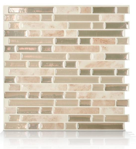 "Smart Tiles  SM1043-6 Wall Tile, Vinyl, Bellagio Sabbia, Beige And Brown, 10"" W X 10.6"" H"