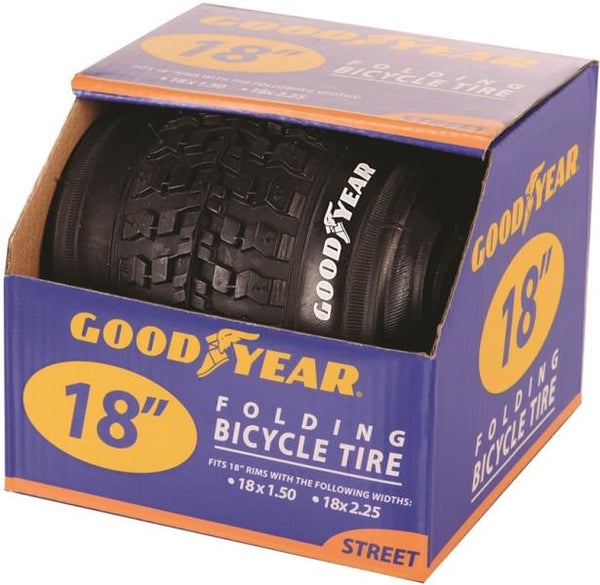 "Goodyear 91054 Folding Bicycle Tires, 18"" X 1.5-2.5, Black"