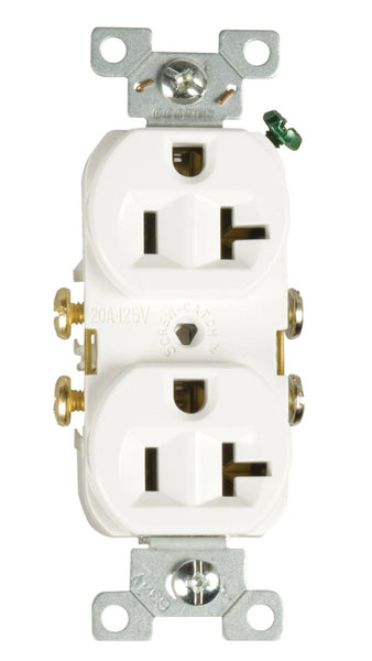 Cooper Wiring CR20W-SP Commercial Grade Straight Blade Duplex Receptacle, White