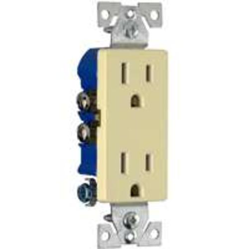 Cooper Wiring 1107V Ivory Decorator Duplex Receptacles, 10 pk