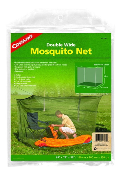 "Coghlan's 9765 Double-Wide 240-Mesh Mosquito Net, Olive Green, 63""x78""x59"""