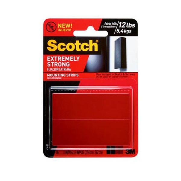 "Scotch 414P-ST Extremely Strong Mounting Strips, 1"" x 3"", Black"