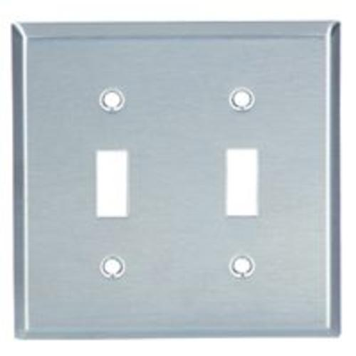 "Cooper Wiring 93072-BOX 2G SS SWITCH PLATE, 4.50"" x 4.563"""