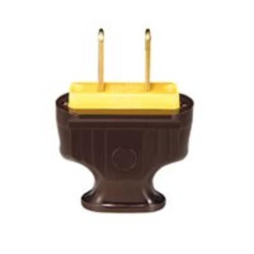 Cooper Wiring BP1912B-SP Flat Handle 2-Wire Plug, Brown