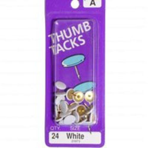 Midwest 21973 White Thumb Tacks, 24 Piece