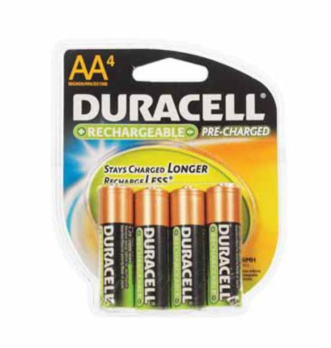 Duracell DC NL AA4BCD Pre-Charged Rechargeable Batteries, 2000 mAH, AA
