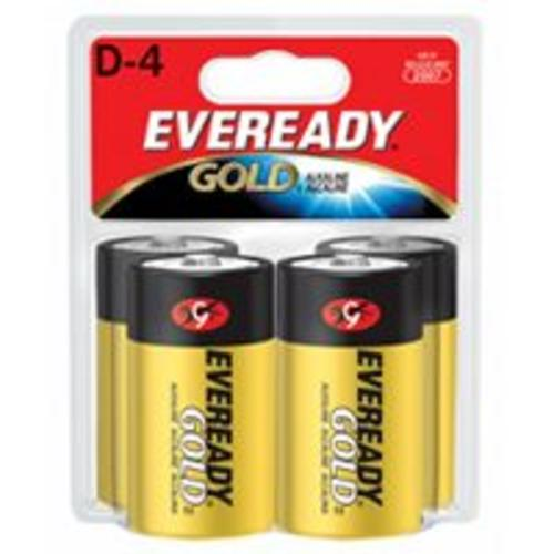 Eveready Gold A95BP-4 Alkaline Batteries, D, 1.5 Volt
