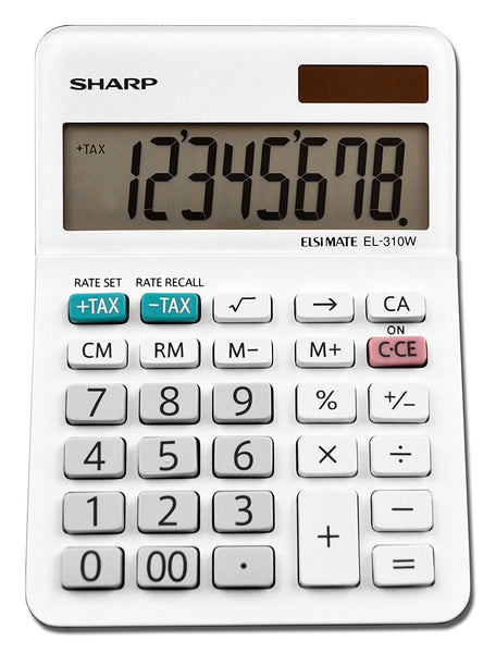 Sharp EL310WB Heavy Duty Mini Desktop Calculator, Plastic, 8 Digits