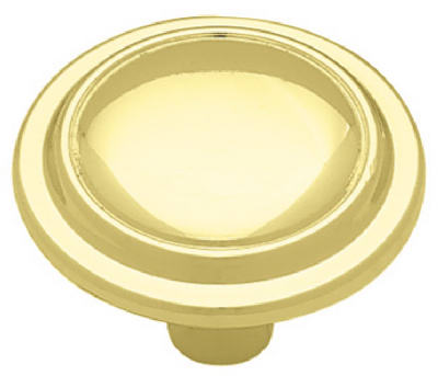 "Brainerd® 69101 Top Ring Round Knob, 1-1/4"" Diameter, Brass Plated"