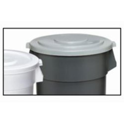 Continental 2001GY Huskee Round Flat Receptacle 20-Gallon Container Lid, Gray