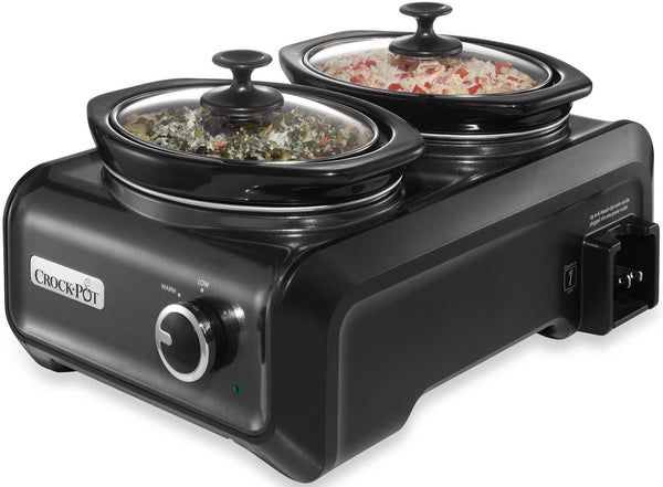 Crock-Pot SCCPMD1-CH Double Crock Slow Cooker, Metallic Charcoal