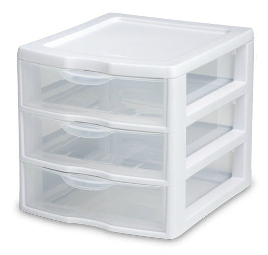 "Sterilite 20738006 Small 3 Drawer Unit, 8-1/2"" x 7-1/4"" x 6-7/8"""