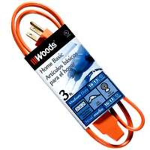 Coleman 0814 Indoor Extension Power Cord, 3', Orange