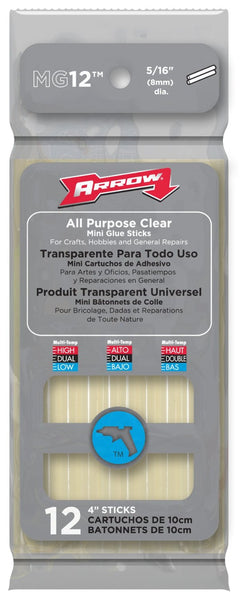 Arrow MG12 All Purpose Clear Mini Glue Sticks, 4""