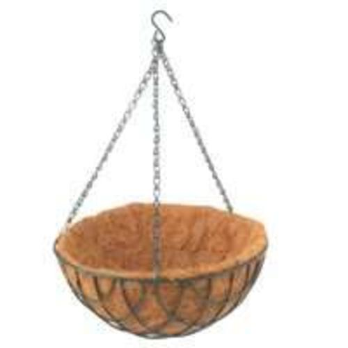 "Mintcraft GB-4303-3L Hanging Basket With Coconut 12"", Matte Green"