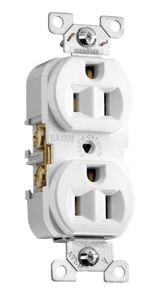 Cooper Wiring CR15W 3-Wire Commercial Grade Duplex Receptacle, White