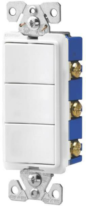 Arrow Hart 7729W-SP Triple Switch Decorator Combination Device, White