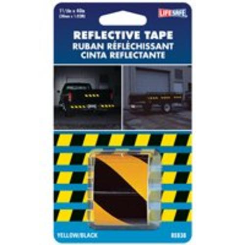"Life Safe RE838 Reflective Tape, 1-1/2"" x 40"", Yellow/Black"
