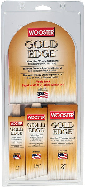 Wooster 5239 Gold Edge Wall Brush, Variety, 3/Pack
