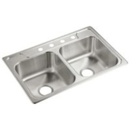 "Sterling Pluming 14708-4-NA Double-Basin Self Rimming Kitchen Sink, 33"" x 22"""