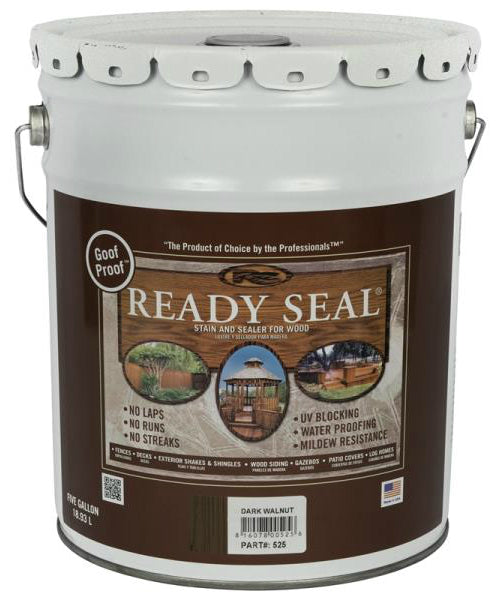 Ready Seal 525 Dark Walnut Exterior Wood Stain and Sealer, 5 Gallon
