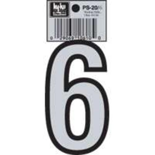Hy-Ko PS-20/6 Reflective Vinyl House Number #6,  3-1/4""
