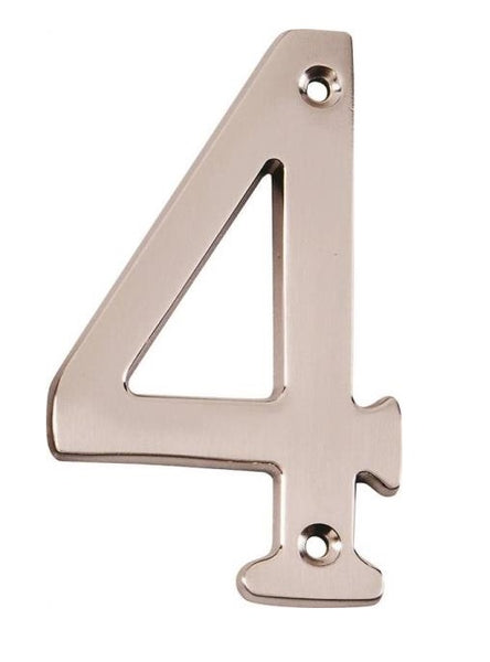 Prosource N-Z044SN-PS House Numbers With Screws #4, Satin Nickel Finish