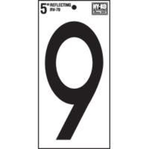 "Hy-Ko RV-70/9 ""Rv Series"" Reflective Vinyl Number 9"