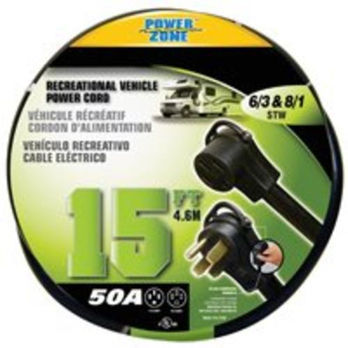 Power Zone ORV5063815 Rv Power Cord 6/3-8/1 15', Stow 50 A