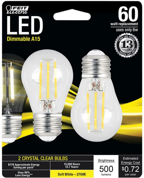 Feit Electric BPA1560827LED2 A15 LED Light Bulb, 6 Watts, Soft White, 2Piece/Pk