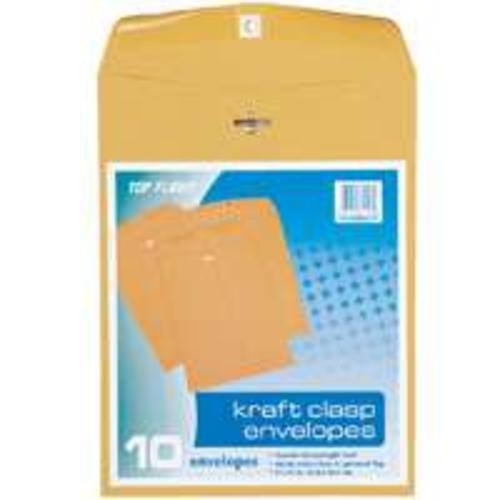 "Top Flight 74413 Kraft Clasp Envelopes 9""x12"", Brown"