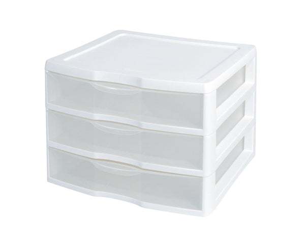 Sterilite 20938003 Clear View Wide 3-Drawer Organizer with White Frame