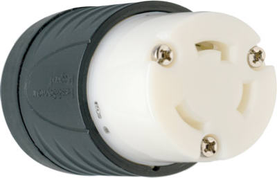 Pass & Seymour Locking Connector, 30A, 125V, Black & White