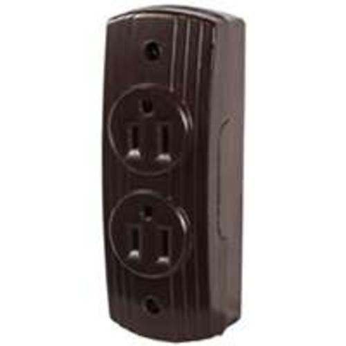 Cooper Wiring 542B-BOX Surface Mount Duplex Receptacle, Brown